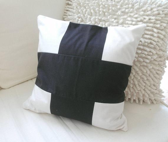 Pillow cover modern  black white cross