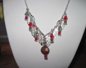 Ohio State Buckeye Necklace with silver leafs Red and Gray Swarovski Crystals