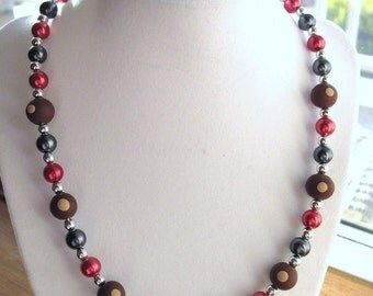 Red and Gray Pearl Necklace with Polymer Clay Buckeyes
