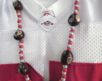 Real Ohio Buckeye Necklace with Red and Gray Beads