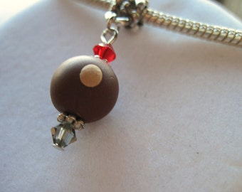 Large Whole Bead with Dangle Buckeye Charm and Swarovski Crystals- Interchangeable with popular brands