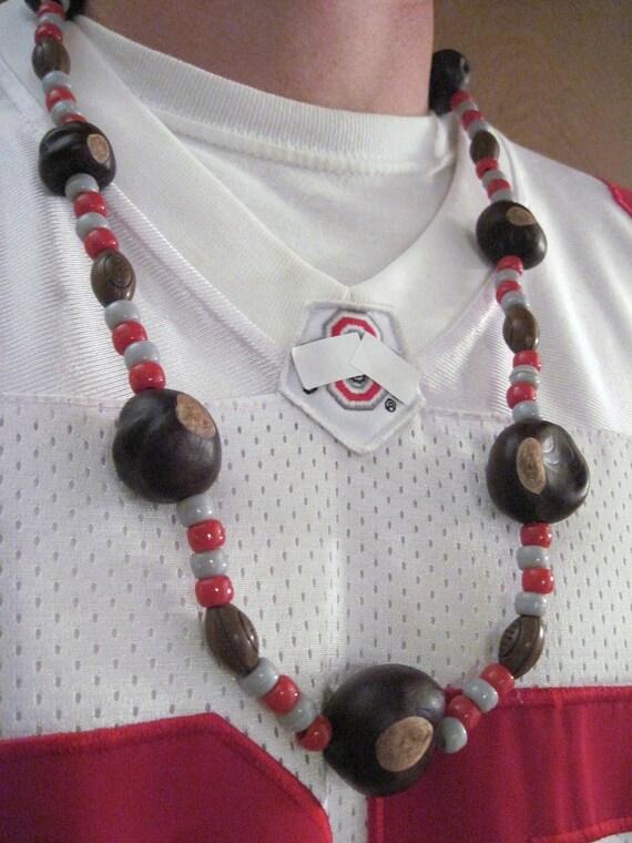 Real Ohio Buckeye Necklace with Football beads