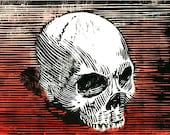 woodblock skull print with red