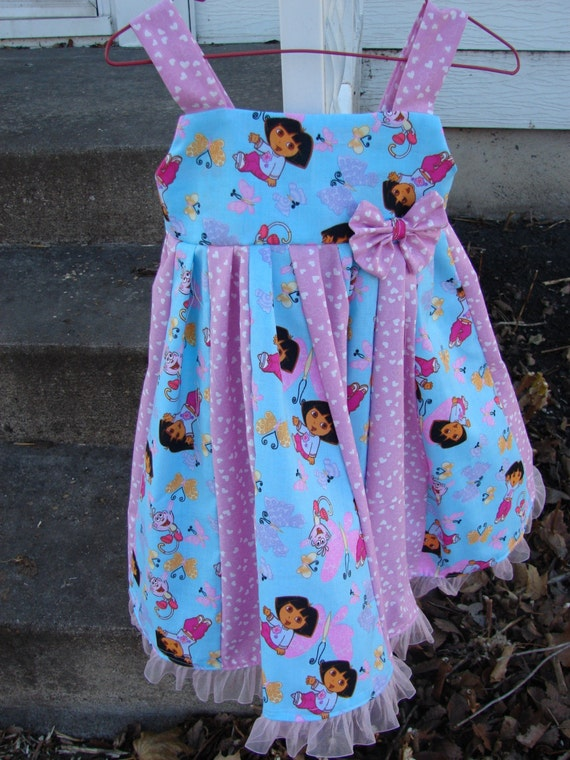 custom boutique made with  dora the explorer fabric  twirl dress size 2-6