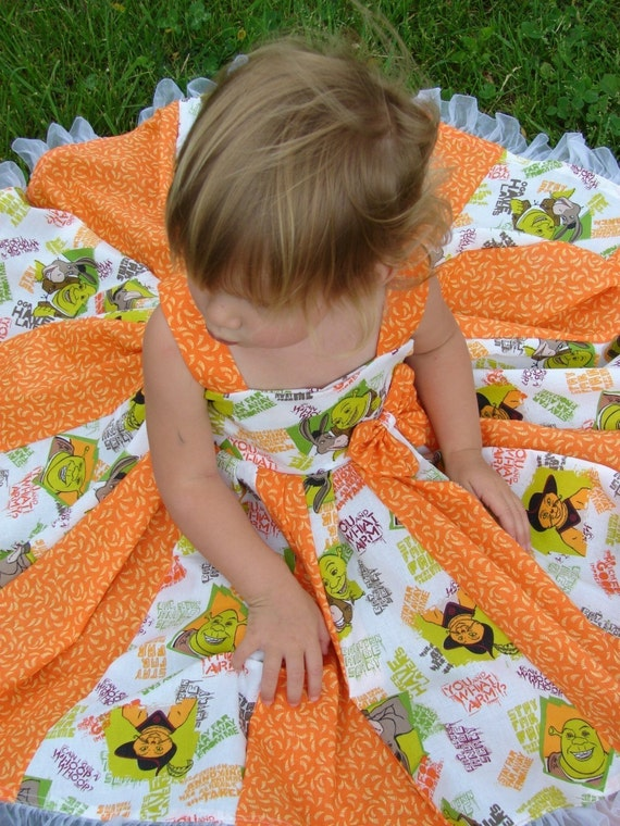 custom boutique twirl dress made with Disney Shrek fabric 2t or 3t  Last one