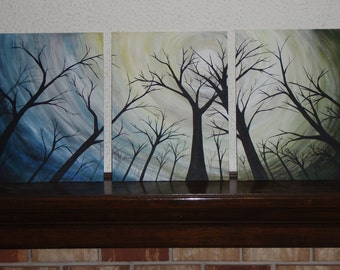 3 panel flat canvas acrylic landscape with trees      triptic