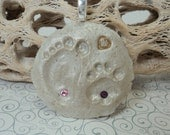 Footprint/Cat Pawprint in the Sand Birthstone Pendant