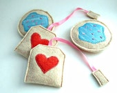 Sale - Tea Party - Recycled Sweater Felt Tea and Cookies Set