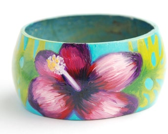 Tropical flower, Hawaii / Tiki bangle, hand-painted