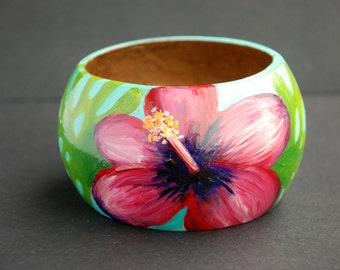 Tropical flower, Hawaii / Tiki bangle, hand-painted, bigger size