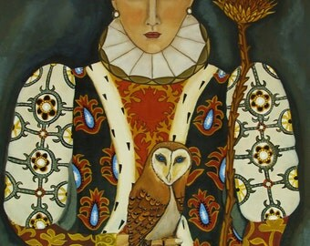 Portrait painting -Her Majesty The Queen-Owls and Artichokes-Open Edition Print