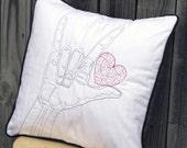 ASL / Hand Design Custom Embroidered Pillow