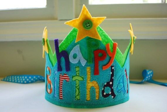 READY TO SHIP Custom Felt and Fabric Happy Birthday Crown  Double Layer with stars