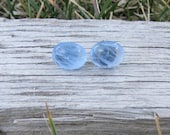 vintage glass oval round earrings w/ nickel free posts: blue swirl  -Buy Two Get One FREE-