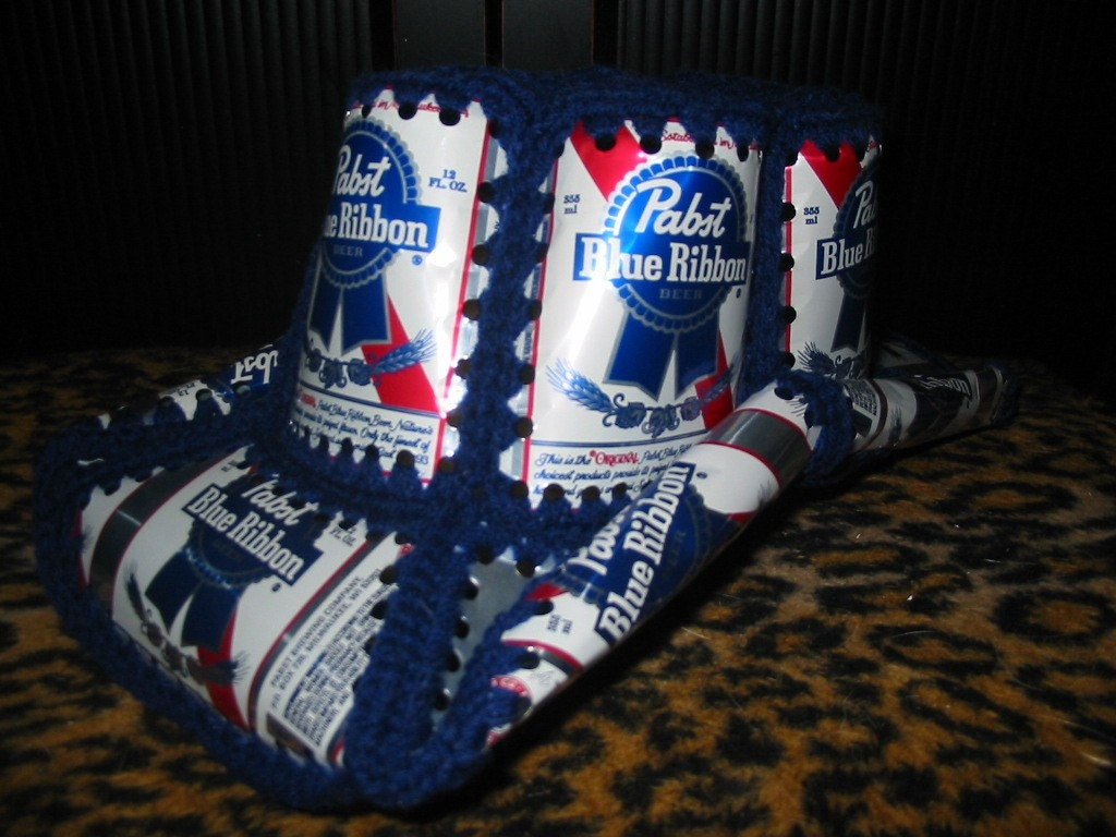 Crochet Beer Can Cowboy Hat Pattern : PBR PABST BLUE RIBBON Crocheted Cowboy Beer Can Hat by ...