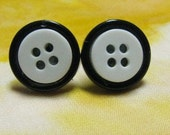 cute as a button black and white earrings