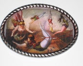 The Circus Is in Town  Belt buckle with Vintage Circus comic book cover print Free Leather belt strap included