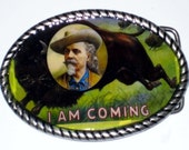 Buffalo Bill  Belt buckle with Vintage Western comic book cover print Free Leather Belt Strap Included