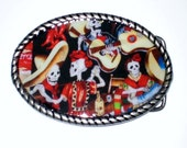 Day of the Dead Belt Buckle With Free Leather Belt Strap (Listing for Cindi)