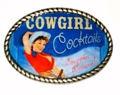 Special listing for Rosa Cowgirl Cocktails Belt buckle with PinUp Cowgirl print Free Leather Belt Strap Included
