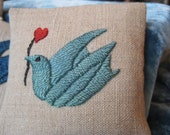 Lover's Peace Dove Organic Lavender Sachet, naturally dyed silk embroidery on hemp