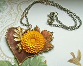 Autumn's Last Bloom - Repurposed Vintage Copper and Brass Leaf and Flower Collage Necklace OOAK