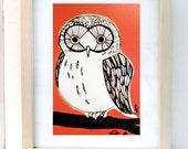 Orange Owl 4x6in Print