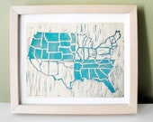 U.S. Map Turquoise Relief Print Original Illustration
