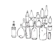 Black and White Vintage Bottle Collection Giclee Print