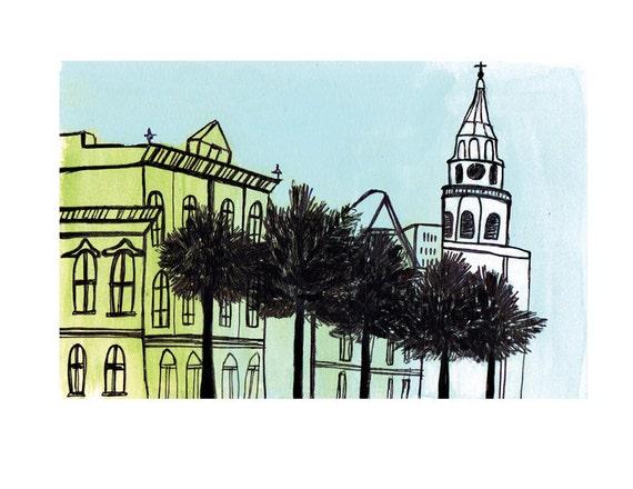 Charleston Broad Street Print of Orignal Drawing 8.5x11in