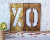 Large Vintage Brass Stencil Letters XO