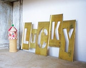 Vintage LUCKY Brass Stencil  Letters