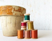 Vintage Wooden Spools of Thread in Autumn Colors Instant Collection of 6