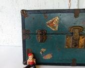 Vintage Doll Steamer Trunk with Travel Stickers by Mason and Parker Manufacturing