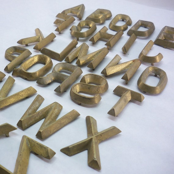 vintage set of brass letter stamps