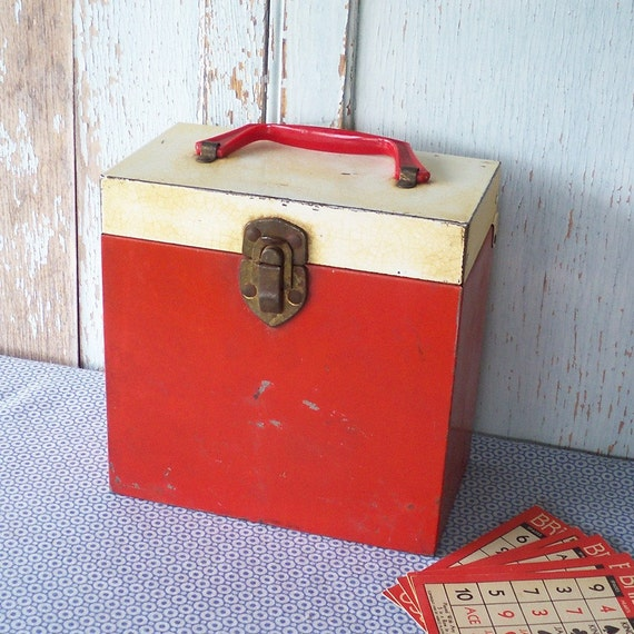 Vintage Metal Red and White 45 rpm Record Storage Box