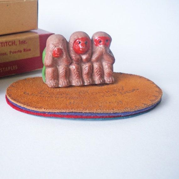 Vintage See No Evil, Hear No Evil, Speak No Evil Monkey Desk Accessory