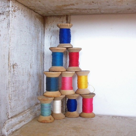 Vintage Wooden Bowtie Spools-Collection of 10