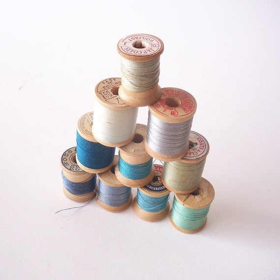 Collection of Vintage Wooden Spools in Shades of Blue
