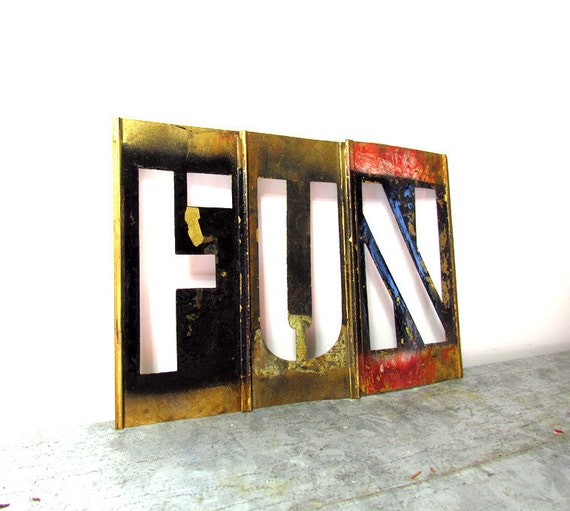 Vintage Letters 'FUN'  Brass Stencils for display, altered art, collage