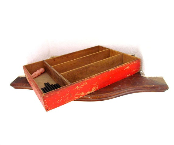 Vintage Wooden Utensil Tray - Red Paint