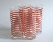 4 Pink Highball Glasses