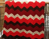 Ripple - little red riding hood - Afghan christmas sale for her for him zig zag crocheted red cream brown lap afghan
