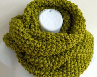 Cowl Scarf - Knit Cowl - The Reader - You Pick Your Color - Circle Scarf - Circular Scarf