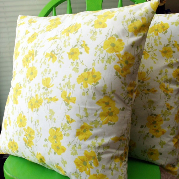 Set of Two vintage looking pillowcases (yellow) 20x20 Pillow covers 20 inch couch pillow