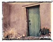 Green Door, Santa Fe--4x5 Polaroid image transfer print