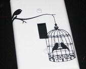 Bird Cage Birdie Switch Plate