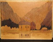 Vintage Inlaid Wood Picture Woods Cabin and Mosque BIZARRE