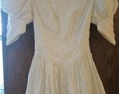 Vintage Wedding Dress Scott McClintock Ivory Lace Puff Sleeves