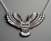 Swooping Owl in Black and White Necklace